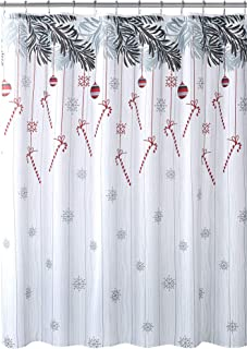 Country Time Christmas Fabric Shower Curtain: Hanging Candy Cane on Snowflake Distressed Background Shimmer Design, Red Grey White