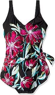 Women's Plus-Size Side Tie Wide Strap Sarong One Piece Swim Dress