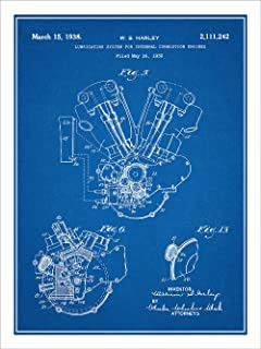 Studio 21 Graphix 1936 Harley Davidson Knucklehead Engine Motorcycle Patent Print Art Poster UNFRAMED Blueprint 18