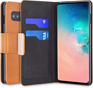 Olixar - Wallet Case Compatible with Samsung Galaxy S10 - PU Faux Leather - Slim Protective Cover - Card Storage Slots and Built in Media Viewing Stand - Leather Style (Brown)