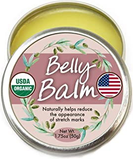 Organic Belly Balm - Natural, Made in USA, USDA Certified Stretch Mark Cream to Moisturize, Protect, Heal Skin Before & Af...
