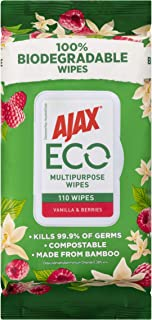 Ajax Eco Multipurpose Antibacterial Disinfectant Biodegradable Compostable Bamboo Household Grade Surface Cleaning Wipes V...