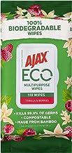 Ajax Eco Antibacterial Disinfectant Surface Cleaning Wipes, Bulk 110 Pack, Vanilla & Berries, Multipurpose, Biodegradable ...