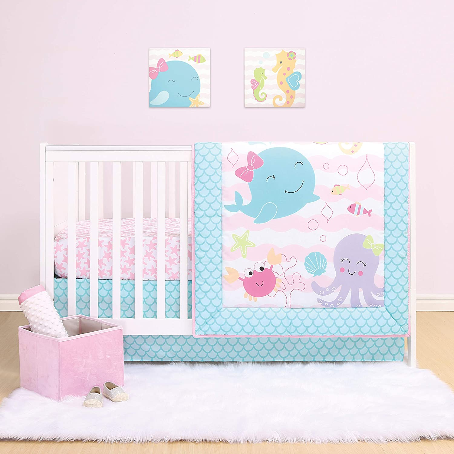 Jacksonville Mall The Peanutshell Max 57% OFF Sea Sweeties Crib Baby Bedding Sets Girls for