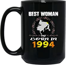 echip Ceramic Coffee Mugs 15oz Best Woman Are Born In Happy Birthday Gift For Who Was Born In 1994 For Father Mother Son Daughter Husband Wife On Birthday Black Tea Cup