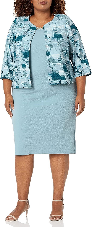 Maya Brooke Women's Plus Size Polka Dot Printed Jacket Dress