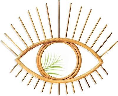 Altglas Eye Wall Decor Rattan Mirror - Handmade Boho Style Evil Eye Mirror with Customizable Eye Lashes - Wall Mounted Bedroom Decor, Living Room Wall Decor in Natural Vintage Style (Dark Rattan)