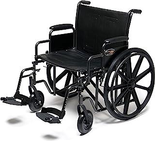 "Everest & Jennings Traveler HD Wheelchair, Detachable Desk Arms & Swingaway Footrests, 22"" Seat, Silvervein Color"
