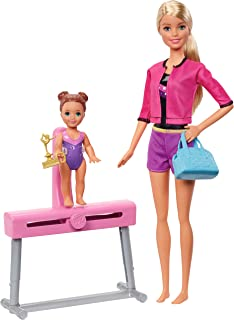 Barbie Ice-Skating Coach Dolls & Playset with Blonde Coach Barbie Doll, Brunette Small Doll and Balance Beam with Sliding Mechanism, Gift for 3 to 7 Year Olds [Amazon Exclusive]