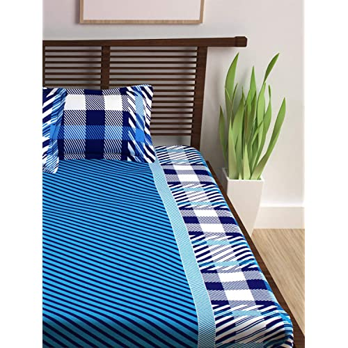 Story@Home Abstract 152 TC Magic Series 100% Cotton Double Bedsheets with 2 Pillow Covers, Blue
