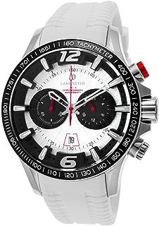 ランカスターイタリアola1063s-ss-nr-bnメンズHurricaneクロノグラフホワイトシリコンシルバートーンダイヤル腕時計
