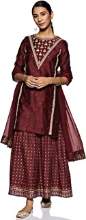 W for Woman Women's Rayon straight Salwar Suit Set (19AUWS12650-212570_ Maroon_ XS (6))