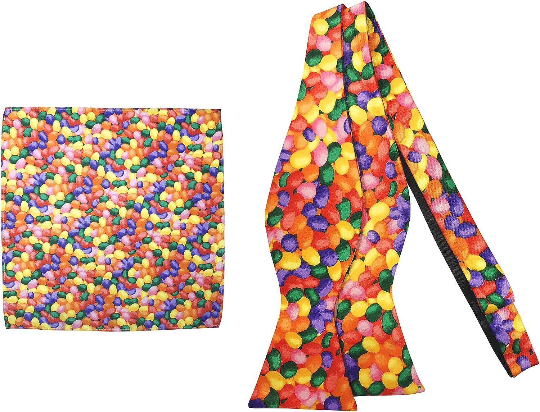 Jacob Alexander Men's Jellybean Candy Print Halloween Self-Tie Bow Tie and Pocket Square Set