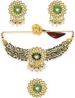 Zaveri Pearls Green Clustered Pearls Kundan Choker Necklace Earring & Ring Set For Women-ZPFK11067