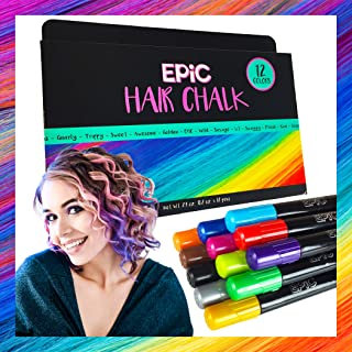 EPIC - Hair Chalk - 12 Large, Colorful Pens - PERFECT Christmas gift - Temporary Color for Girls, Boys, Teens and Adults - Perfect Present Ages 5 6 7 8 9 10 Years Old- Washable- Face Paint- Safe