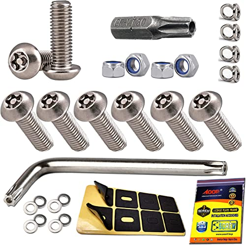 "Aootf Stainless Steel License Plate Screws - Anti Theft License Plate Frame Screws Tamper Resistant Fasteners | 1/4""(..."