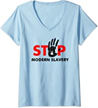 Womens STOP Modern Slavery Support Anti Human Trafficking Awareness V-Neck T-Shirt