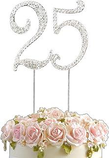 Décoration en strass pour gâteau d'anniversaire en forme de nombre 1 à 80 Argenté, Alliage, 25, 7x8