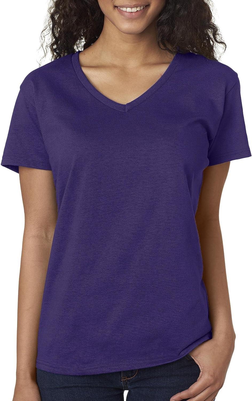 Gildan Women's Softstyle V-Neck T-Shirt - Large - Purple