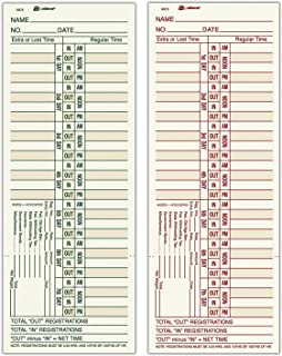 """Adams Time Cards, Bi-Weekly, 2-Sided, Overtime Format, 3-3/8"""" x 9"""", Manila, 500-Count (9675A5)"""