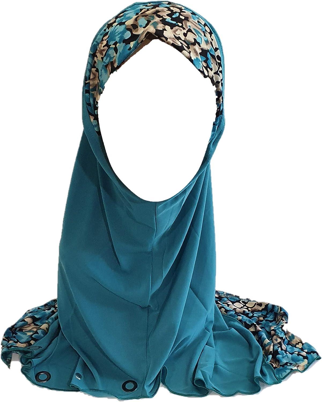 Turquoise Blue One Piece Slip-On Leopard Zebra Pattren Muslim Hijab Head Wear Cover Scarf