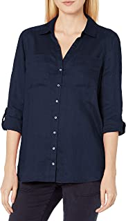Vince Camuto Women's Long Sleeve Two Pocket Pinstripe Refresh Button Down Blouse