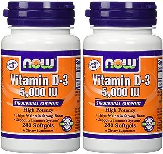 NOW Foods Vitamin D3 5000 Iu, 240-softgels (Pack of 2)