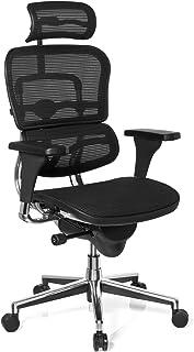 hjh OFFICE 652980 silla de oficina ERGOHUMAN BASE ONE tejido de malla negro, alta calidad, sólido aluminio pulido, ergonómico, sillón alta gama
