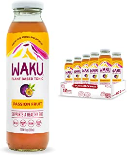 Waku Iced Tea - Passion Fruit - All Natural Herbal Tea Brewed With Mint, Lemon Balm, Lemongrass, Fennel, Chamomile - Gut H...