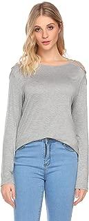 Sexyfree Women's Criss Cross Shoulder Basic Comfy T Shirt Tops Long Sleeve