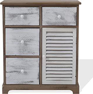 Rebecca Mobili Cómoda Vintage gabinete Blanco Gris marrón 4 cajones 1 Puerta Madera Muebles Entrada Dormitorio - Medid...