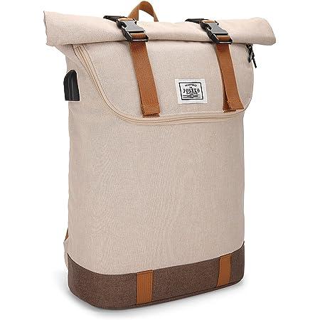 JOSEKO Schulrucksack, Rolltop Rucksack Fahrradrucksack Wanderrucksack, Laptop-Rucksack mit USB Ladeanschluss für Fahrradfahren Freizeit und Reise Leichter Outdoor Rucksack mit Laptopfach(Khaki)