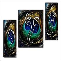 SAF 6MM Ganesha Set of 3 Panel Digital Reprint 12 inch x 18 inch Painting SANFJM1005