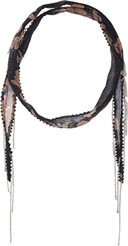 All Over Print Two-Tone Leopard Print Short Skinny Scarf