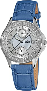 Women's BUR044 Round Diamond Classic Stainless Steel GMT Date Watch