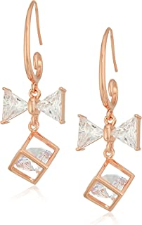 14k Rose Gold Plated Sterling Silver Cubic Zirconia Gift and Bow Dangle Earrings