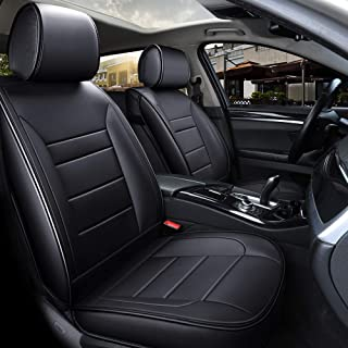 INCH EMPIRE Car Seat Cover Easy to Clean Artificial Leather-Adjustable Car Seat Cushion Fit for Sedan SUV Hatchback Truck Impala Malibu Fusion Taurus Accord CRV Civic Insight(Pure Black Full Set)