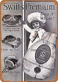 Baoku Metal Sign 1916 Swift's Premium Whole Hams 2 8x12 Inch Retro Decor Tin Signs Bar, Cafe, Art, House Wall Decoration