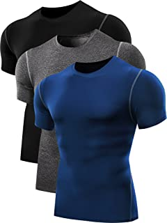 Neleus Men's Workout Athletic Compression Shirts Pack of 3