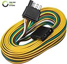 ONLINE LED STORE 4-Way Flat Wishbone-Style Trailer Wiring Harness Kit [25' Male & 4' Female] [18 AWG Color Coded Wires] [SAE J1128 Rated] with 4 Flat Connector for Under or Over 80