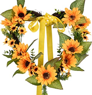 TINGOR 13'' Artificial Sunflower Wreath, Heart-Shaped Greenery Springtime Flower Wreath with Yellow Sunflower and Green Leaves for Front Door Outdoor Wall Wedding Home Summer Decoration (LED & Ribbon)