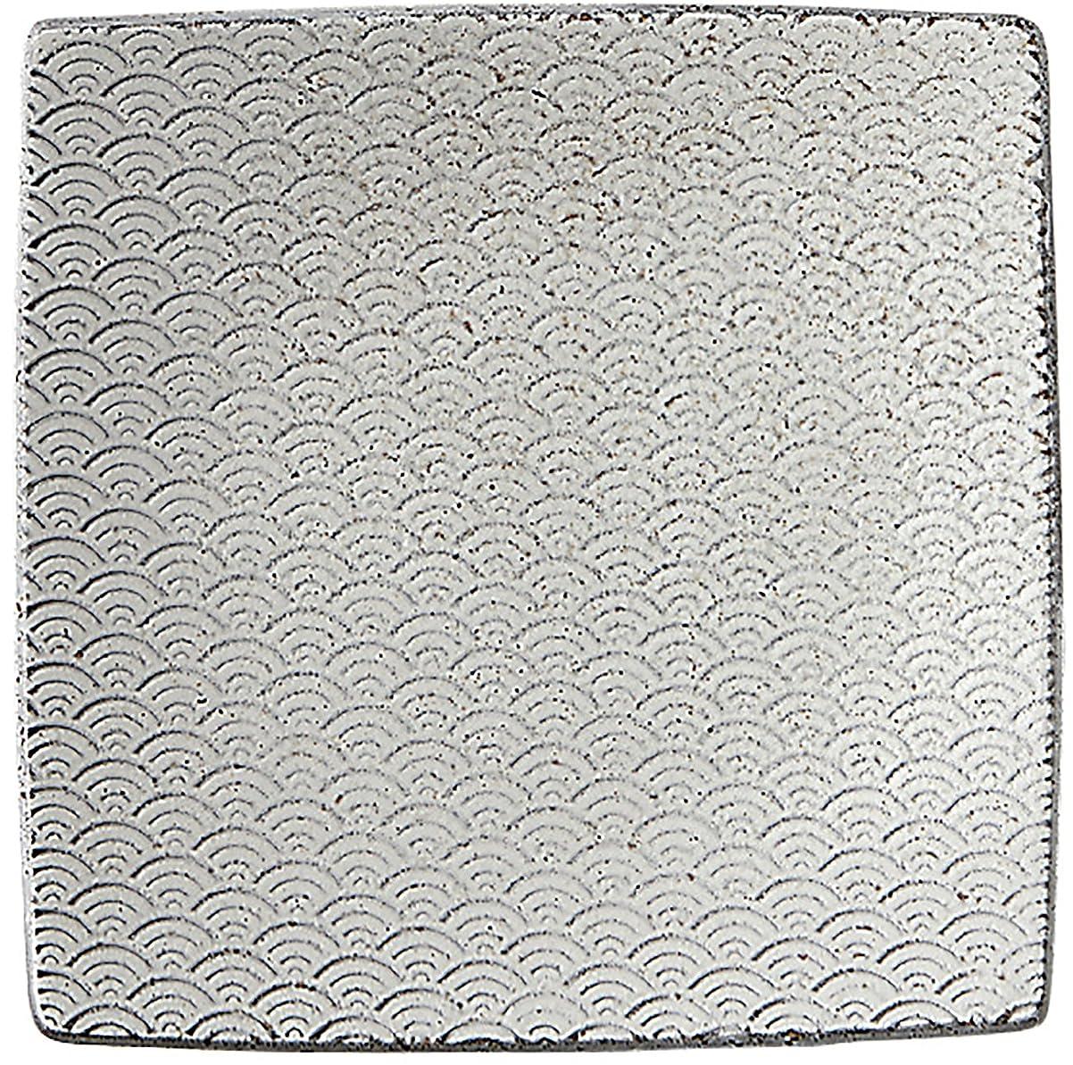 優先権傷つきやすい酸化物光洋陶器 古代粉引き 正角皿 15.5cm 青海波 57683066
