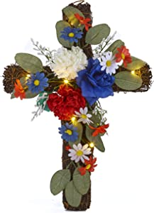 The Lakeside Collection Battery Operated Lighted Wall Hanging Floral Accent Cross - Americana