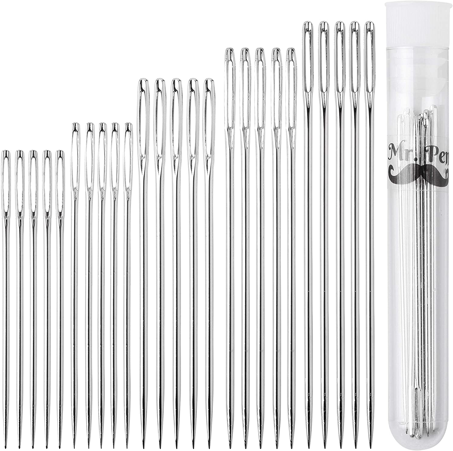 A set of hand sewing needles is good to have on hand. I like a set that includes many different sizes.