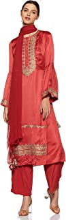 Round Neck Full Sleeve Solid Embroidered Kurta With Trousers And Dupatta