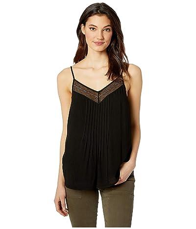 1.STATE Sheer Stripe Lace Inset Cami (Rich Black) Women