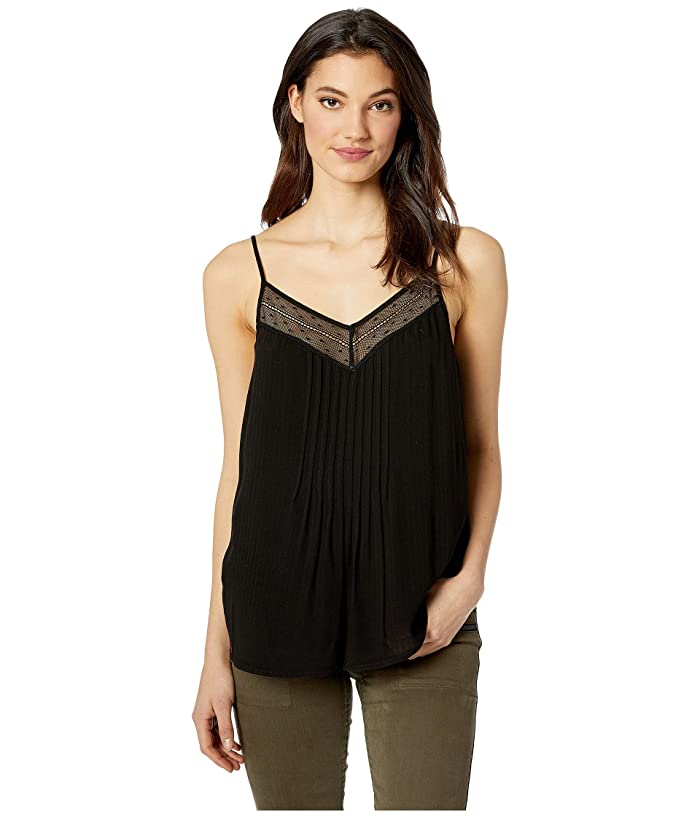 1.STATE Sheer Stripe Lace Inset Cami (Rich Black) Women