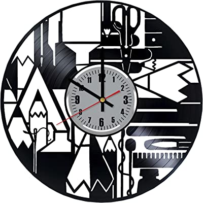 Art Patelnia School Tools Supplies Vinyl Wall Clock - Pen Pencil Scissors Ruler Handmade Wall Decor