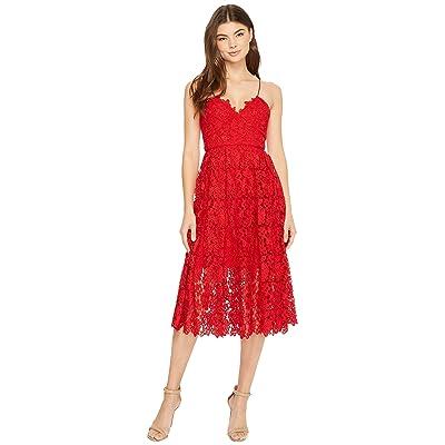 Donna Morgan Chemical Lace Spaghetti Strap Midi (Scarlet Red) Women