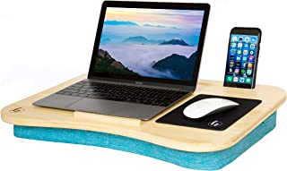 """Lap Desk by Hultzzzy - Large 100% Natural Bamboo Surface - Fits up to 17 Inch Laptops - 15"""" Tablets - Pen & Phone Holder - Custom Mouse Pad Included - Cushion Foundation"""